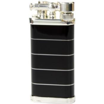 Pfeifenfeuerzeug Corona Old Boy versilbertes Messing/schwarzes Metall mit silbernen Ringen