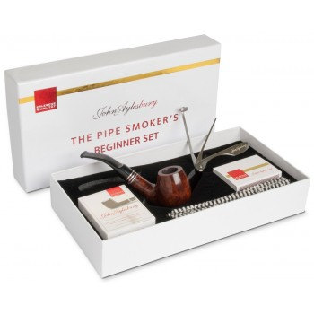Pfeife John Aylesbury The Pipe Smoker's Beginner Set Bent Dunkelbraun