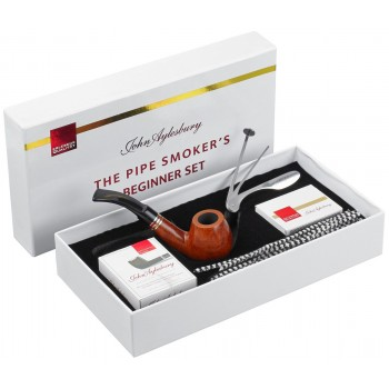 Pfeife John Aylesbury The Pipe Smoker's Beginner Set Bent Hellbraun