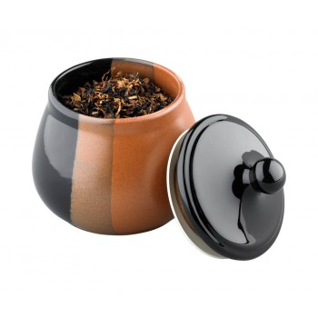 Tabaktopf Keramik schwarz/braun