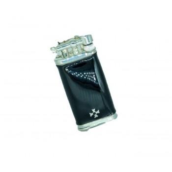 Pfeifenfeuerzeug Sillems Old Boy Silber/schwarzes Emaille