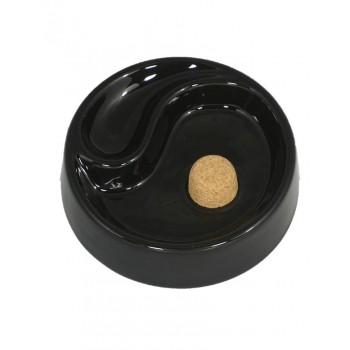Pfeifenascher Keramik rund schwarz