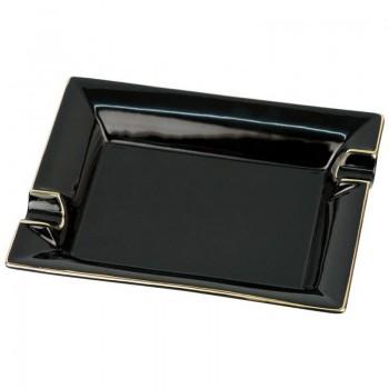 Cigarrenascher Porzellan schwarz mit Goldrand