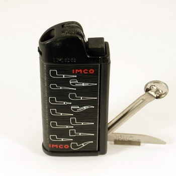 Pfeifenfeuerzeug Imco Chic4 schwarz mit Pfeifenlogos