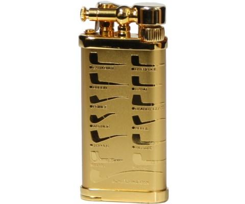 Pfeifenfeuerzeug Corona Old Boy vergoldetes Messing mit Pfeifenmotiven