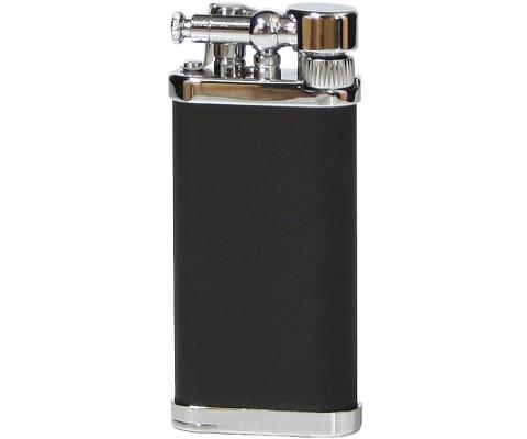 Pfeifenfeuerzeug Corona Old Boy chrom/schwarz seidenmatt