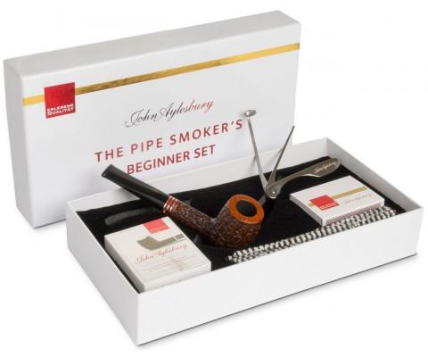 Pfeife John Aylesbury The Pipe Smoker's Beginner Set Billiard Rustiziert