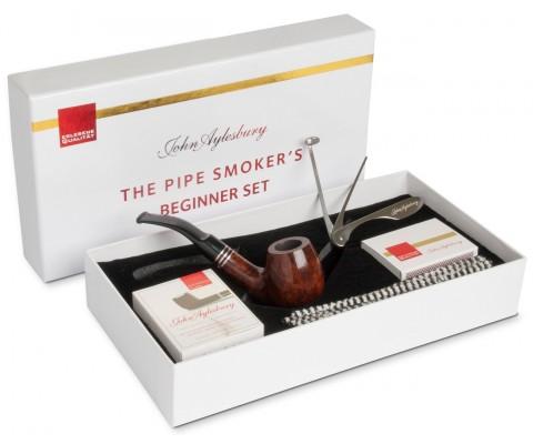 Pfeife John Aylesbury The Pipe Smoker's Beginner Set Bent Dunkelbraun