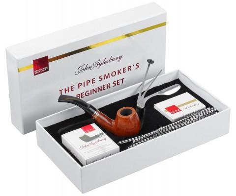 Pfeife John Aylesbury The Pipe Smoker's Beginner Set Bent Hellbraun