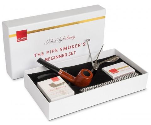 Pfeife John Aylesbury The Pipe Smoker's Beginner Set Billiard Hellbraun