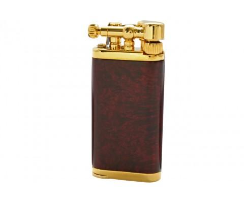 Pfeifenfeuerzeug Corona Old Boy vergoldetes Messing/rötliches Bruyere