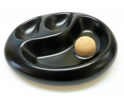 Pfeifenascher Keramik schwarz mit 2 Pfeifenablagen